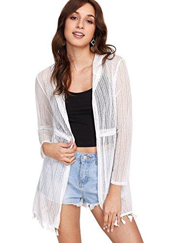 SweatyRocks Women's Long Sleeve Tassel Hem Kimono Cardigan Beach Wear Cover up Swimwear White S