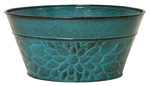 "Robert Allen MPT02008 Laurel Series Metal Planter Flower Pots, 8"", Lagoon"