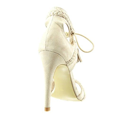 de alto Beige de Pom 11 Zapatos bomba cm tacón Sandalias de Abierto moda flecos Zapatos Trenzado para Tacón de mujer Stiletto Angkorly Estilete Pom de 41qUS4