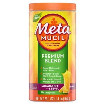 Meta Mucil Premium Fiber Blend, Sugar-Free Stevia, Orange, 23.1 oz (Pack of 2) ()
