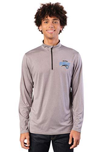 Ultra Game Men's NBA Quarter Zip Pullover Long Sleeve Tee, Orlando Magic, Heather Gray, X-Large (Sport Shop Orlando)
