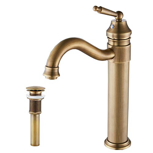 (GGStudy Tall Body Single Handle One Hole Bathroom Vessel Sink Faucets Antique Brass Finish With Pop Up Drian Without Overflow )
