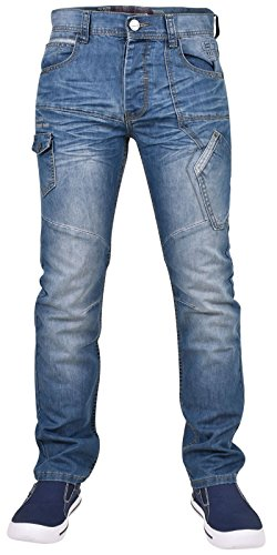 Hommes Stonewash Denim 40 Basse Mode Enzo Pantalon À Mid Regular Jean Fit 28 Taille dqWg4OSfw