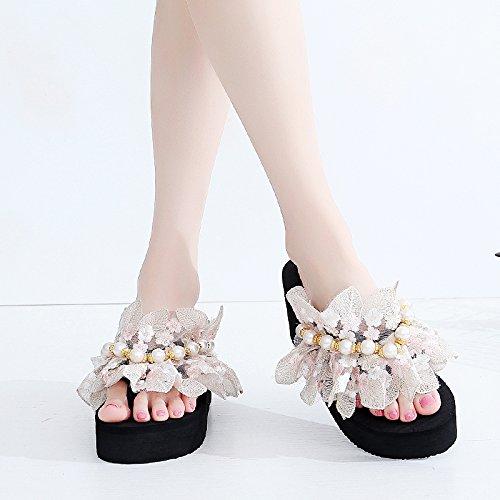 Fond Pantoufles Pearl Grosse Talon eight Fleur Black Summer Thirty Lace Femme D'Épaisseur 6 KPHY Qui Cm Haut gE6Hwqf