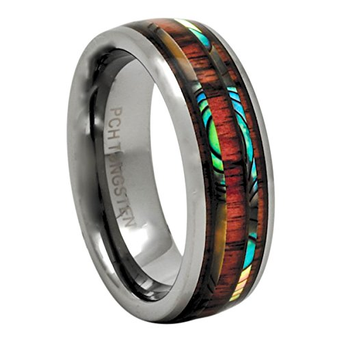 PCH Jewelers Men's Women's Tungsten Ring Abalone Koa Wood Dome 8mm Wedding Band Comfort Fit (11) ()