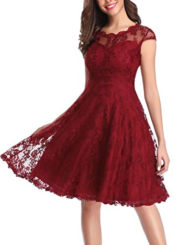 CHUNNA Women's Vintage Floral Lace Cap Sleeve Elegant Bridesmaid Dress Wine Red (Red Wine Lace Dress)