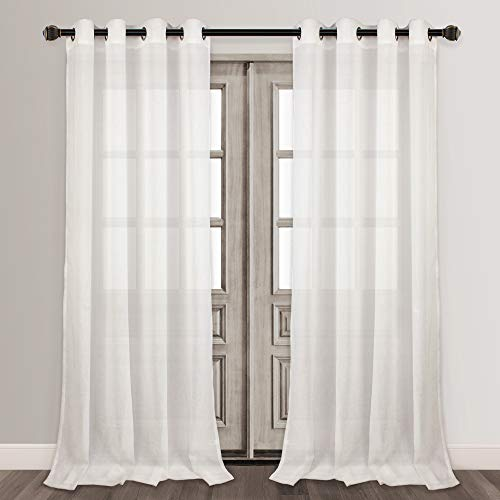 VOILYBIRD White 108 Inch Semi Sheer Curtains for Living Room Extra Long Bilnd Partner Window Drapes, 54''W by 108''L, 2 Panels (Sheer 108 Long Curtains Inches)