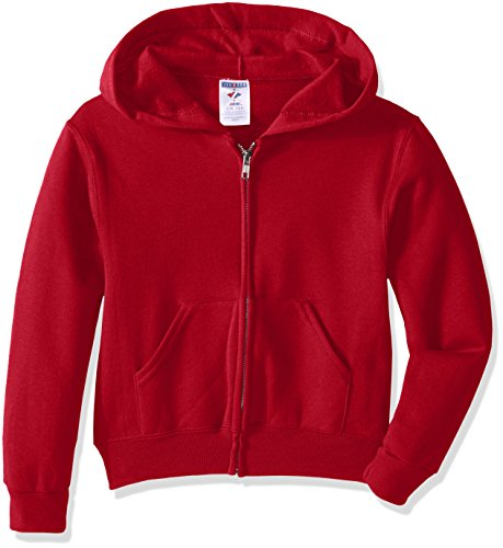 - Jerzees Youth Full Zip Hooded Sweatshirt, True Red, Large