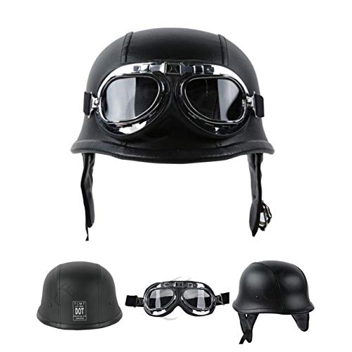 - TCMT DOT German Motorcycle Open Face Helmet For Chopper Cruiser Biker (Black PU Leather, M)