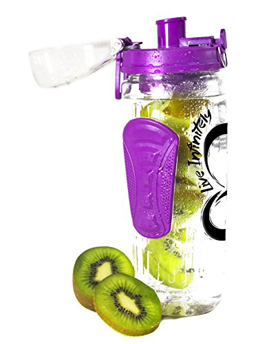 Live Infinitely Infuser Water Bottle with Recipe Ebook (Orchid Purple, 32 oz)