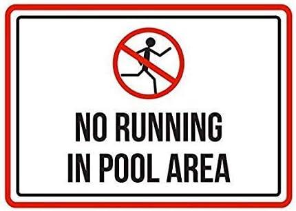 Modtory Metallschild No Running in Pool Area, Spa-Warnung, Aluminium-Wandplakat, Hof, Zaun-Dekoration, Geschenk