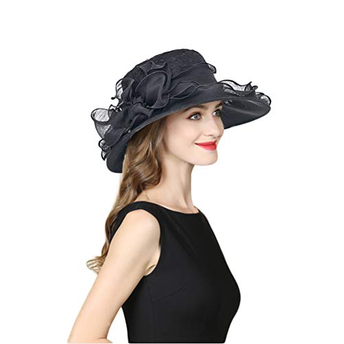 Eanny Womens Kentucky Derby Church Sun Hat Wide Brim Wedding Tea Party Hat (Black Lace)