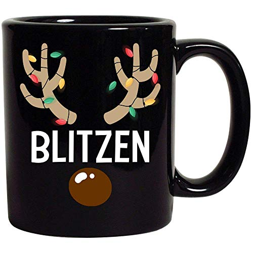 Santa's Reindeer Christmas Gift Fairy Lights Youth & Adults Cute Gift Family Friends Matching Xmas Day party Decor Black Ceramic Coffee Tea Milk Hot Chocolate Mug Cup 11oz (Blitzen)