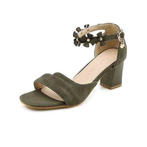 Sandales Armygreen avec de Open Carrée à Toe Femmes Grande Taille Velours Chaussures Tête épais Boucle dqwF6d0