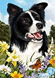 Border Collie Dog - Tamara Burnett Summer Flowers Outdoor Garden Flag 12'' x 17''