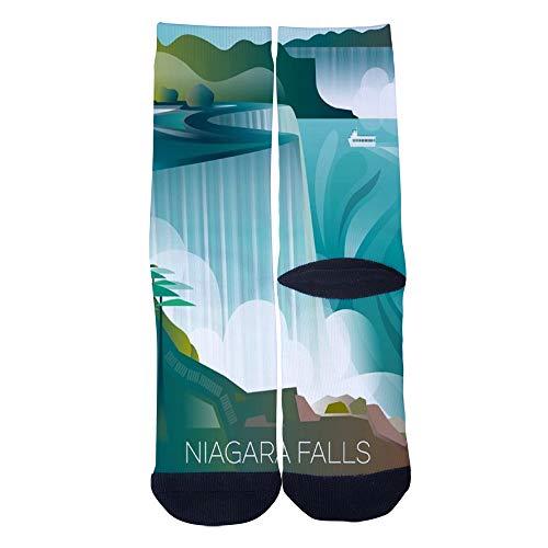 Retro poster Niagara Falls Socks Custom Crew Socks Men/Women Casual Cartoon Socks Creative Comfortable Socks Black]()