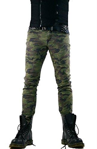Tripp Men's Army Military Camo Print Punk Rocker Goth Skinny Jeans (36) (Print Jeans Army)