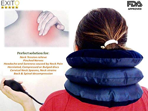 2018 New Cervical Neck Traction Collar for Men and Women,FDA Registered,Effective Neck Pain Remedy at Home, Extra Bonus Eye Mask -Brace for Home use by EXITO (Image #1)