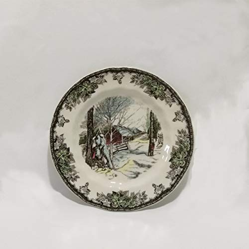 Saucer Manor (QPGGP-Plate Ceramic tableware, British manor, plate, decoration, hanging plate, ornamental set, coffee cup and saucer,L)