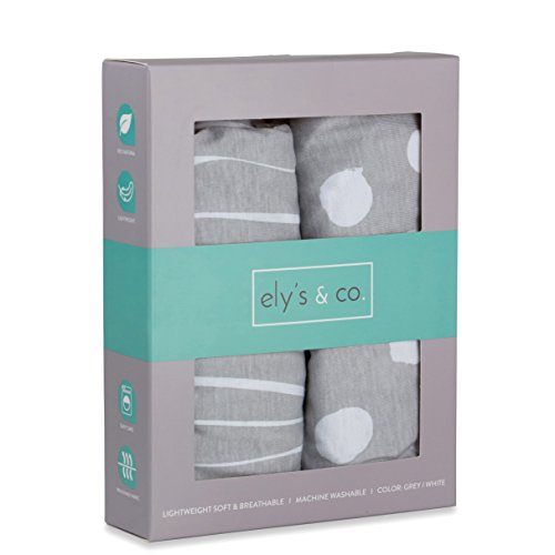 - Bassinet Sheet Set 2 Pack 100% Jersey Cotton Grey and White Abstract Stripes and Dots by Ely's & Co.