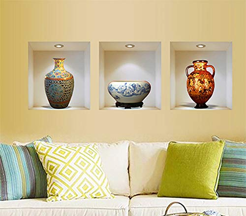 (3D Vase Paintings Wall Art Decor 3 Panels Triptych Wall Stickers Decals Vinyl Paintings Wall Decor for Living Room Bedroom Home Decorations (Ceramic Vase))