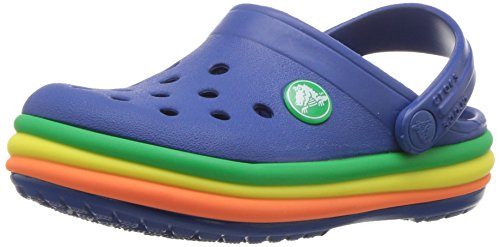 (Crocs Kids' Crocband Rainbow Band Clog, Blue Jean, 13 M US Little Kids)