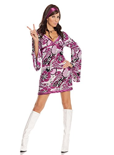 Sexy Women's Vintage Vixen Hippie Adult Roleplay Costume, Large, Paisley Print (Couples Cosplay Costumes)