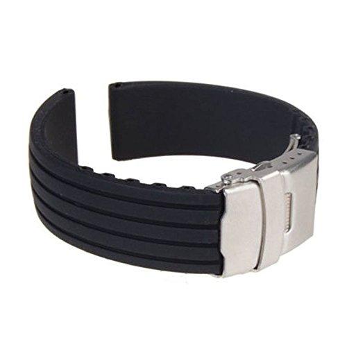 Sport caoutchouc Suppion montre de silicone bande étanche Bracelet Boucle déployante noire (18mm)