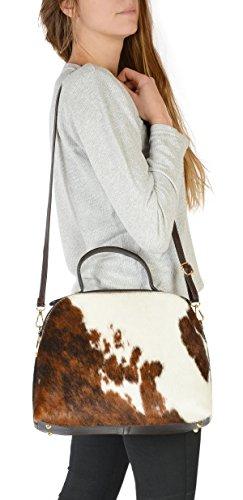Echt Leder Kuhfell Handtasche für Damen: Kuhfelltasche groß -- exclusive Fell Handtasche Tracht Western