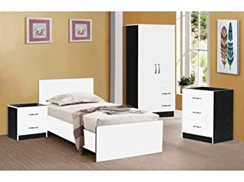 MARINA ULTRA HIGH GLOSS 3 PIECE TRIO BEDROOM SETS FURNITURE UNITS (WHITE  GLOSS & BLACK ASH)
