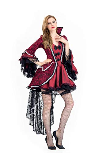 (Vampire Queen Halloween Dress Women Vampire Halloween Costume Lace Long Mandarin Sleeve Standing Collar)