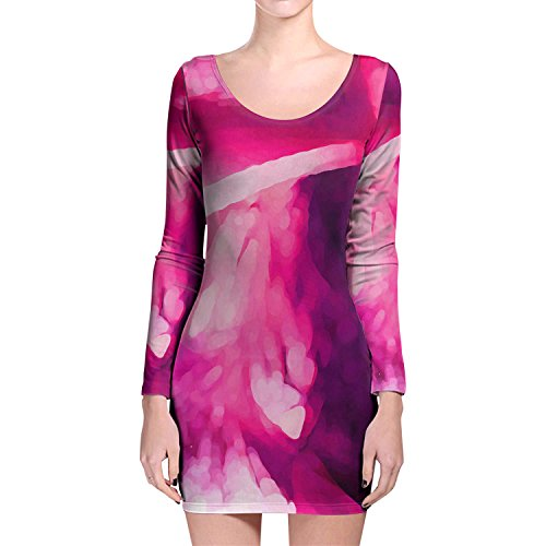 Rosa Abstract Watercolor manga larga Bodycon vestido