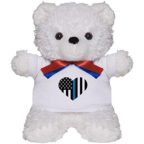 American Flag Teddy Bear T-shirt (CafePress - Thin Blue Line American Flag Heart - Teddy Bear, Plush Stuffed Animal)