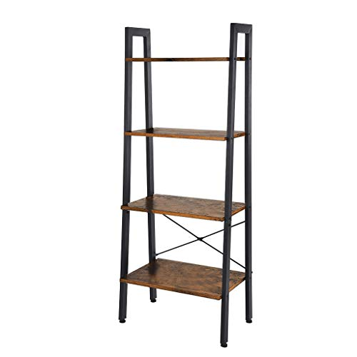 Huangou Vintage Ladder, 4-Tier Bookshelf, Storage Rack Shelf Unit, Bathroom, Living Room, Wood Look Accent Furniture Metal Frame (Brown, 56 x 34 x 142cm)