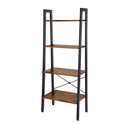 NszzJixo9 Vintage Ladder, 4-Tier Bookshelf, Storage Rack Shelf Unit, Bathroom, Living Room, Wood Look Accent Furniture Metal Frame, Vintage Industrial Style (Vintage)