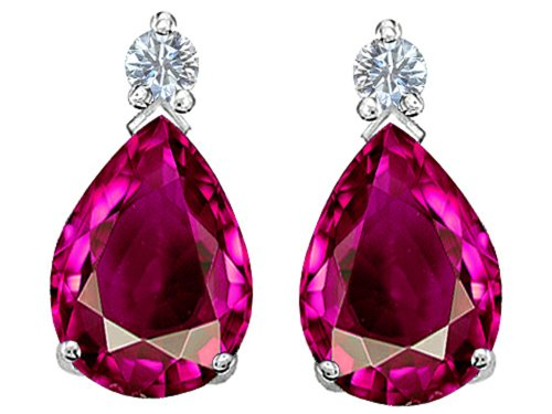 6 mm Created Pink Sapphire Earrings Studs Sterling Silver (Pear Shape Sapphire Earrings)