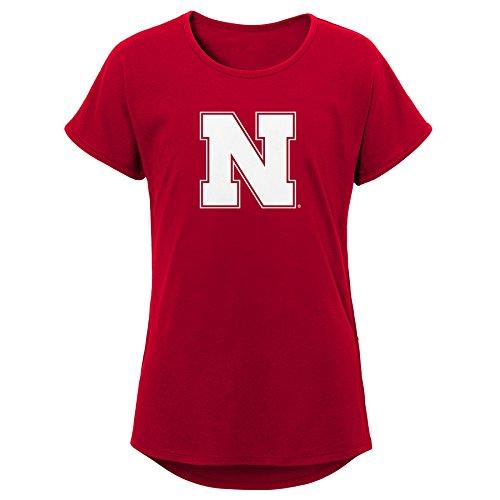 (NCAA Nebraska Cornhuskers Youth Girls Primary Logo Dolman Tee, Youth Girls Medium(10-12), Dark Red)