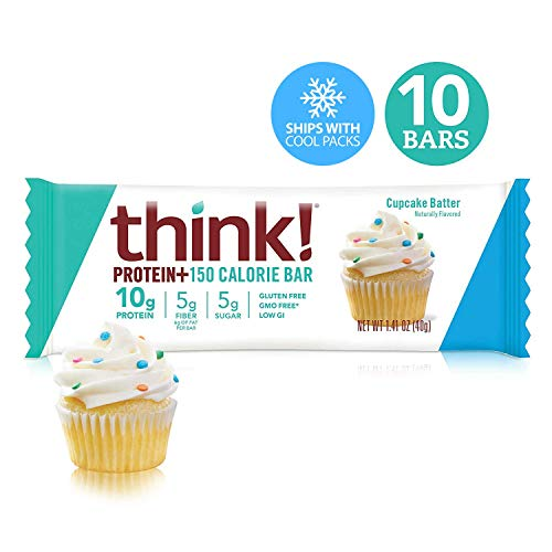Think! (thinkThin) Protein+ 150 Calorie Bars - Cupcake Batter, 10g Protein, 5g Sugar, No Artificial Sweeteners, Gluten Free, GMO Free*, 1.4 oz bar (10 Count - Packaging May Vary)
