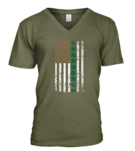 Vertical Irish Shamrock Flag USA St. Patrick's Day Mens V-Neck T-Shirt (Medium Olive)