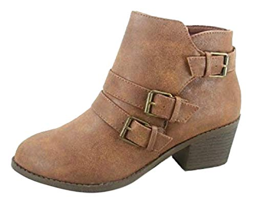 Boot Tan Distressed Childrens - EVA Tan Faux Leather Zipper Low Heel Buckle Distressed Western Fashion Fall Botas Casuales para Mujer Ladies Bootie Boot Shoe for School Women Girl Junior (Size 7, Tan)