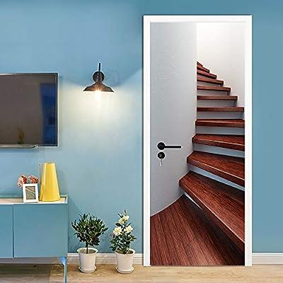 FLFK 3D Escalera de Madera en Espiral Adhesivo Vinilos Puerta Pegatina Pared Murales para Cocina Sala de Baño Decorativos 77X200cm: Amazon.es: Hogar