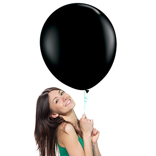 27 Inch (2.3 ft) Giant Jumbo Latex Balloons (Premium Helium Quality), Pack of 24, Regular Shape - Onyx Black, for Photo Shoot/Birthday/Wedding Party/Festival/Event/Carnival ()