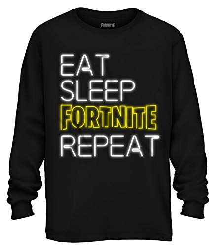 Mad Engine Fortnite Shirt Boys' Eat Sleep Fortnite Repeat Neon Long Sleeve T-Shirt (X-Small 4)