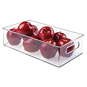 mDesign Refrigerator Storage Organizer Bin, Covered Egg Holder, Water Bottle Holder for Kitchen - Set of 3, Clear