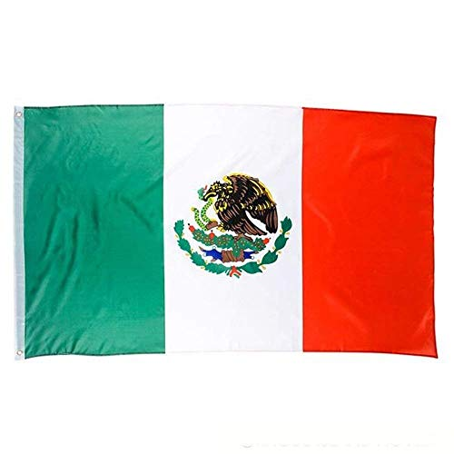 Kidsco Mexican Flag – 3x5 ft. Cool and Fun Bright Color Fade Resistant Canvas Header Mexican Polyester Flag – Novelty Toys, Party Decorations, Giveaways, Cinco De Mayo