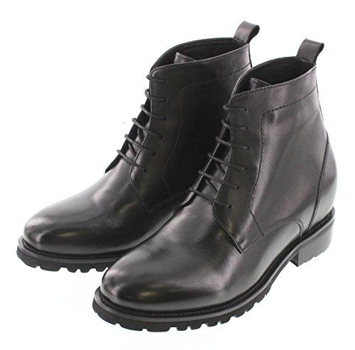 Calto T5205-3.3 Pulgadas Taller - Taller De AuHombresto De Altura Elevator Zapatos - Negro Con Cordones Botines