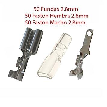 Pack 100X Terminal Faston 2.8 mm 50 Hembras y 50 Machos + 50 Fundas transparentes 2.8: Amazon.es: Electrónica