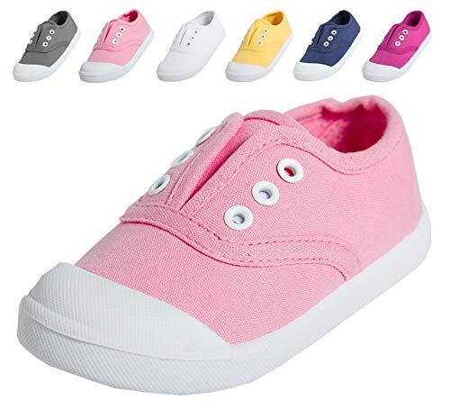 (Kikiz Candy Color Kids Toddler Canvas Sneaker Boys Girls Casual Shoes Rose Pink 9 M US Toddler)
