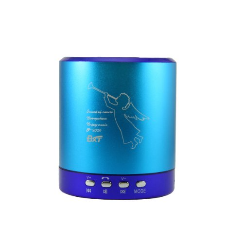 BXT® Brand New Colourful Portable Rechargeable Angel Image Mini Speaker for Ipod, Mp3, Mp4 Player, Micro Sd / Tf Card, Usb, Mobile Phone, Laptop, Aux, and Other Digital Devices with 3.5mm Stereo Audio Cables (Blue)