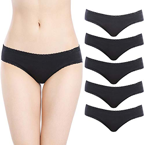 HBY Women's Underwear Cotton Bikini Panties Lace Trim Hipster Panty Comfy Briefs Pack of 5, M Black (Black Cotton Low Rise Bikini)
